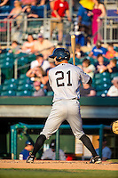 Zach Shank (21) of the Jackson Generals bats during a game between the Jackson Generals and Chattanooga Lookouts at AT&T Field on May 7, 2015 in Chattanooga, Tennessee. (Brace Hemmelgarn/Four Seam Images)