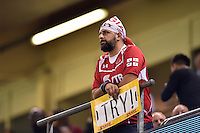 A Georgia supporter in the crowd looks on prior to the match. Rugby World Cup Pool C match between New Zealand and Georgia on October 2, 2015 at the Millennium Stadium in Cardiff, Wales. Photo by: Patrick Khachfe / Onside Images