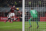 Davide Calabria of AC Milan handles the ball to concede a penalty to Cristiano Ronaldo of Juventus's scissor kick during the Coppa Italia match at Giuseppe Meazza, Milan. Picture date: 13th February 2020. Picture credit should read: Jonathan Moscrop/Sportimage