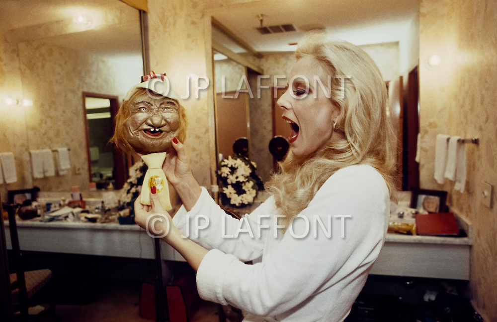 Las Vegas, U.S.A, December, 1982. French singer Sylvie Vartan at the MGM Hotel.