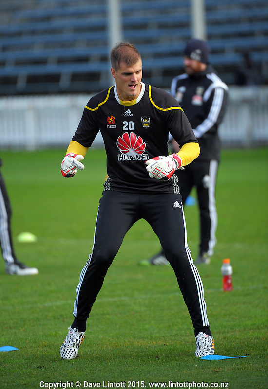 Lewis Italiano in action during the Wellington Phoenix A-League football training match at the Basin Reserve, Wellington, New Zealand on Thursday, 16 July 2015. Photo: Dave Lintott / lintottphoto.co.nz