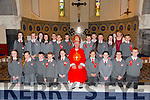 Mrs Trench sixth class Dromclough NS, Listowel who were confirmed in St. Michael's Church, Lixnaw by the Bishop of Kerry Ray Browne on Thursday