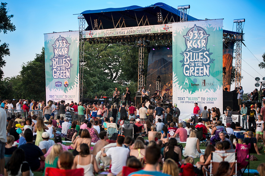 Austin's ever ultra popular Blues on the Green held in Zilker Park for its 24th season in 2014. Blankets, lawn chairs, dogs on leashes, children are all welcome.