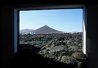 Wohnhaus von Cesar Manrique in Taro de Tahiche, Blick aus dem Wohnzimmer, Lanzarote, kanarische Inseln, Spanien