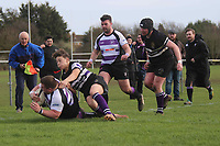 Woodford score a try Romford & Gidea Park RFC vs Woodford RFC, London 2 North East Division Rugby Union at Crowlands on 9th March 2019
