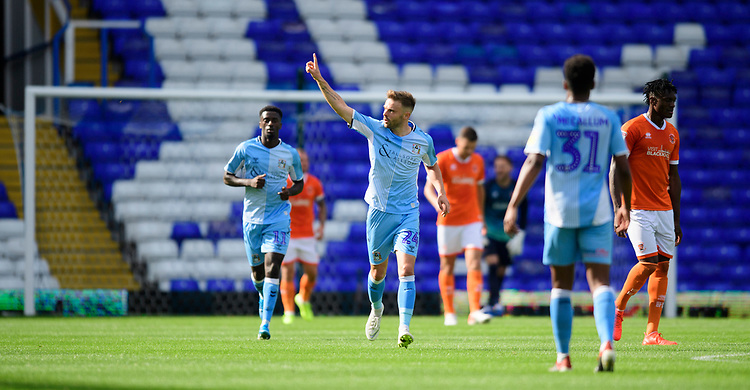 Coventry City's Matthew Godden celebrates scoring his side's equalising goal to make the score 2-2<br /> <br /> Photographer Chris Vaughan/CameraSport<br /> <br /> The EFL Sky Bet League One - Coventry City v Blackpool - Saturday 7th September 2019 - St Andrew's - Birmingham<br /> <br /> World Copyright © 2019 CameraSport. All rights reserved. 43 Linden Ave. Countesthorpe. Leicester. England. LE8 5PG - Tel: +44 (0) 116 277 4147 - admin@camerasport.com - www.camerasport.com