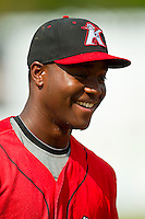 Keon Barnum (35) of the Kannapolis Intimidators prior to the game against the Greenville Drive at CMC-Northeast Stadium on June 29, 2013 in Kannapolis, North Carolina.  The Intimidators defeated the Drive 9-3 in the completion of the game that began on June 28, 2013.   (Brian Westerholt/Four Seam Images)