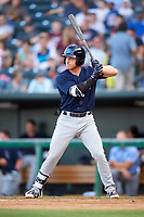 Mobile BayBears shortstop Riley Unroe (19) at bat during a game against the Jacksonville Jumbo Shrimp on April 14, 2018 at Baseball Grounds of Jacksonville in Jacksonville, Florida.  Mobile defeated Jacksonville 13-3.  (Mike Janes/Four Seam Images)