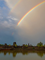 Rainbow over Angkor Wat, the ever changing Weather during the Monsoon Season in Cambodia