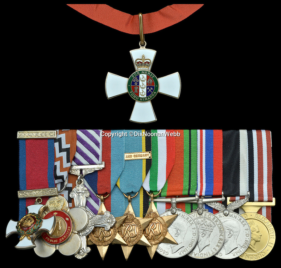BNPS.co.uk (01202 558833)<br /> Pic: JanStarnes/BNPS<br /> <br /> *Please use full byline*<br /> <br /> The decorations and medals awarded to Les Munro. They are: New Zealand Order of Merit, Companion's neck badge (top). Remainder (left to right): Distinguished Service Order, New Zealand Queen's Service Order, Distinguished Flying Cross,  1939-45 Star; Air Crew Europe Star with  clasp France and Germany,  Italy Star; Defence and War Medals 1939-45, New Zealand Service Medal 1939-45,  New Zealand 1990 Commemoration Medal.<br /> <br /> The last surviving Dambusters pilot is to sell his gallantry medals awarded for the legendary raid and donate the proceeds to the Bomber Command Memorial fund.<br /> <br /> Squadron Leader Les Munro hopes to raise £50,000 from the sale which will go towards the upkeep of the newly-built memorial dedicated to the 55,573 airmen killed during the Second World War.