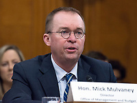 Mick Mulvaney, Director, Office of Management and Budget, testifies before the United States Senate Committee on the Budget on the President's fiscal year 2019 budget proposal on Capitol Hill in Washington, DC on Tuesday, February 13, 2018.<br /> Credit: Ron Sachs / CNP /MediaPunch