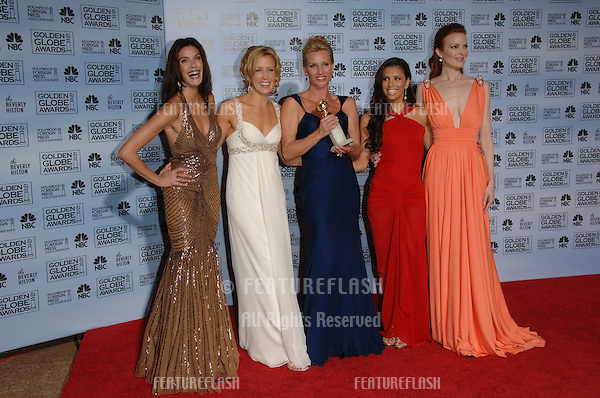 Desperate Housewives stars TERI HATCHER (left), FELICITY HUFFMAN, NICOLLETTE SHERIDAN, EVA LONGORIA & MARCIA CROSS at the 63rd Annual Golden Globe Awards at the Beverly Hilton Hotel..January 16, 2006  Beverly Hills, CA.© 2006 Paul Smith / Featureflash