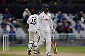 7th September 2017, Emirates Old Trafford, Manchester, England; Specsavers County Championship, Division One; Lancashire versus Essex; Ravi Bopara and Essex captain Varun Chopra reach a half century partnership during the afternoon session as Essex chase the Lancashire first innings total of 290