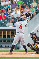 Matt Hague (6) of the Indianapolis Indians at bat against the Charlotte Knights at BB&T Ballpark on May 23, 2014 in Charlotte, North Carolina.  The Indians defeated the Knights 15-6.  (Brian Westerholt/Four Seam Images)