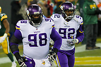 Minnesota Vikings defensive tackles Linval Joseph (98) and Tom Johnson (92) during a National Football League game against the Green Bay Packers on December 23rd, 2017 at Lambeau Field in Green Bay, Wisconsin. Minnesota defeated Green Bay 16-0. (Brad Krause/Krause Sports Photography)