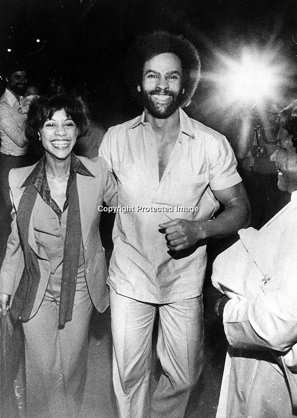 Black Panther leader Huey Newton with his wife Gwen in Oakland, California.  (1978 photo)@copyright 2014