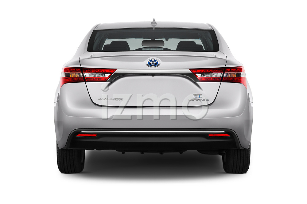 Straight rear view of a 2018 Toyota Avalon Limited Hybrid 4 Door Sedan stock images