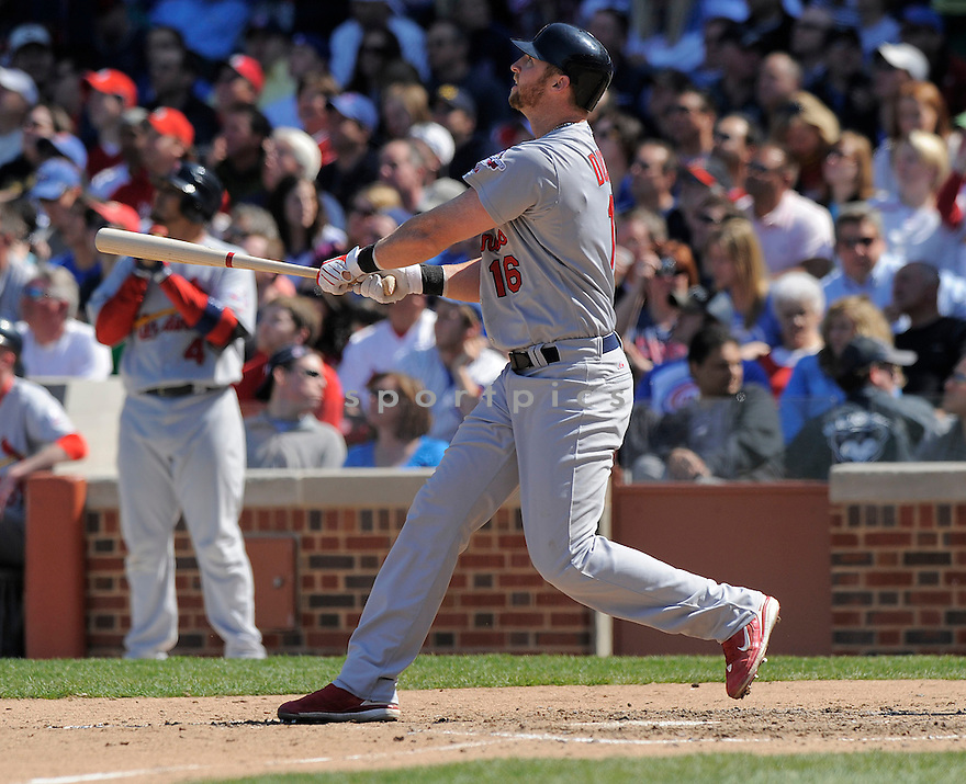 CHRIS DUNCAN, of the St. Louis Cardinals  , in action  during the Cardinals  game against the Chicago Cubs  on April 17, 2009 in Chicago, IL.  The Cubs beat  the Cardinals  7-5  in Chicago,