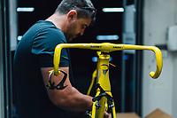 Picture by Russell Ellis/russellis.co.uk/SWpix.com - image archived on 25/04/2019 Cycling Tour de France 2018 - Team Sky at the Tour de France - STAGE 21: HOUILLES - PARIS Champs-Elysées 29/07/2018<br /> - Team Sky Yellow Pinarello F10