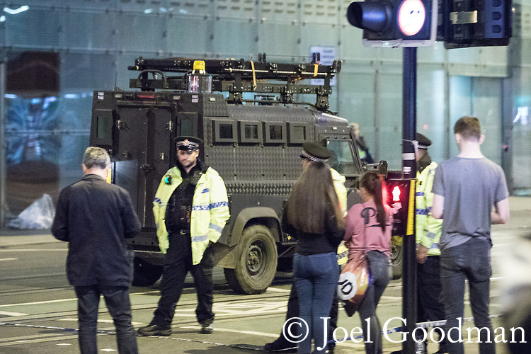 © Joel Goodman - 07973 332324 . 23/05/2017. Manchester, UK. Specialised police vehicle arrives at Victoria Station . Police and other emergency services are seen near the Manchester Arena after reports of an explosion. Police have confirmed they are responding to an incident during an Ariana Grande concert at the venue. Photo credit : Joel Goodman