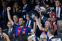 Sergio Busquets and Andres Iniesta raises the trophy during the match of  Copa del Rey (King's Cup) Final between Deportivo Alaves and FC Barcelona at Vicente Calderon Stadium in Madrid, May 27, 2017. Spain.. (ALTERPHOTOS/Rodrigo Jimenez) /NortePhoto.com