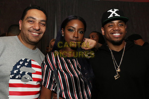 BROOKLYN, NEW YORK - OCTOBER 20, 2015 Cypha Sounds, Justine Skye &amp; Mack Wilds backstage at the TIDAL X: 1020 concert at the Barclays Center, October 20, 2015 in Brooklyn, New York. <br /> CAP/MPI/RTNGOS<br /> &copy;RTNGOS/MPI/Capital Pictures