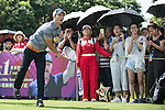 Luis Garcia plays tennis at the 10th hole during the World Celebrity Pro-Am 2016 Mission Hills China Golf Tournament on 22 October 2016, in Haikou, China. Photo by Marcio Machado / Power Sport Images