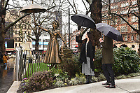 "Zizi Strallen and Alex Zane unveils a Mary Poppins statue at the launch of ""Scenes in the Square"" statue trail in Leicester Square, London.<br /> <br /> ©Ash Knotek  D3558 27/02/2020"