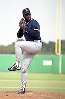 Boston Red Sox pitcher Lee Smith during spring training circa 1990 at Baseball City Stadium in Davenport, Florida.  (MJA/Four Seam Images)