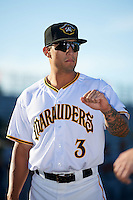 Bradenton Marauders Trace Tam Sing (3) during introductions before a game against the Fort Myers Miracle on April 9, 2016 at McKechnie Field in Bradenton, Florida.  Fort Myers defeated Bradenton 5-1.  (Mike Janes/Four Seam Images)