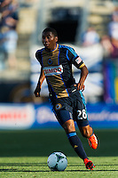 Raymon Gaddis (28) of the Philadelphia Union. The Philadelphia Union and FC Dallas played to a 2-2 tie during a Major League Soccer (MLS) match at PPL Park in Chester, PA, on June 29, 2013.
