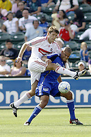 Brandon Prideaux-Chicago Fire / Abe Thompson-Kansas City Wizards. Kansas City Wizards 1 Chicago Fire 1, Sunday October 5 2008, in Kansas City, Kansas. Photo by Bill Barrett/isiphotos.com