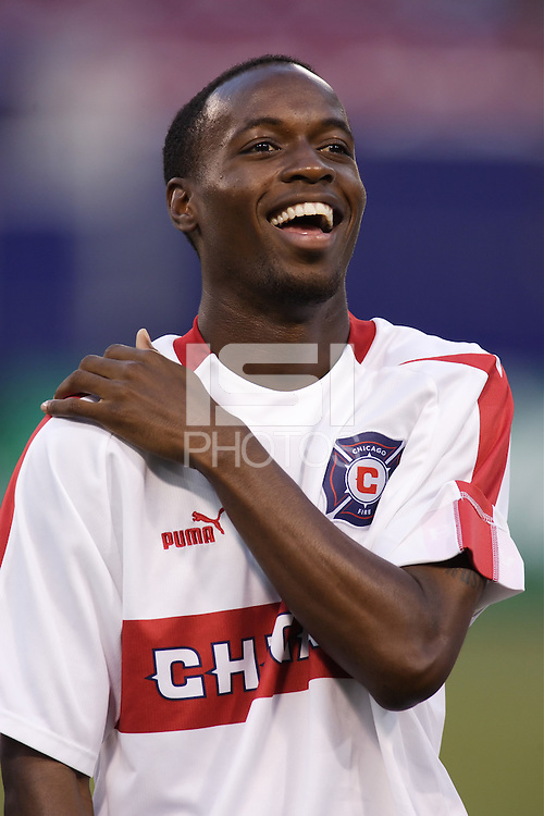 The Chicago Fire's DaMarcus Beasley during pregame introductions. The Chicago Fire played the NY/NJ MetroStars to a one all tie at Giant's Stadium, East Rutherford, NJ, on May 15, 2004.