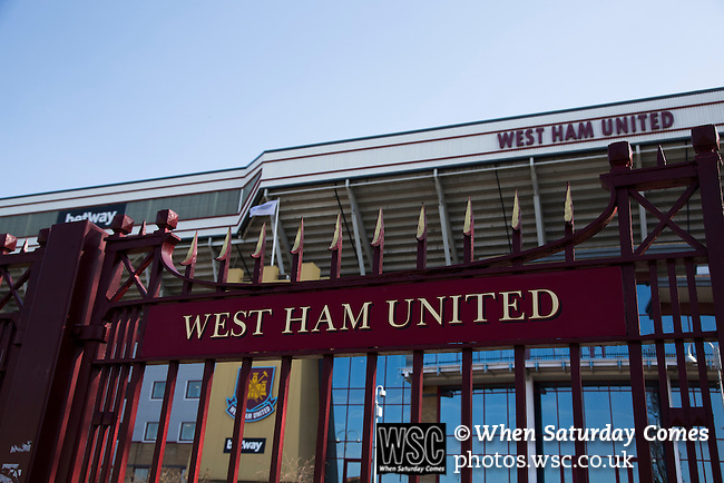 West Ham United 2 Crystal Palace 2, 02/04/2016. Boleyn Ground, Premier League. The John Lyall Gates at the entrance to the Boleyn Ground, pictured before West Ham United hosted Crystal Palace in a Barclays Premier League match. The Boleyn Ground at Upton Park was the club's home ground from 1904 until the end of the 2015-16 season when they moved into the Olympic Stadium, built for the 2012 London games, at nearby Stratford. The match ended in a 2-2 draw, watched by a near-capacity crowd of 34,857. Photo by Colin McPherson.