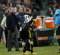 LA Galaxy headcoach Bruce Arena discusses a call with the referee during the second half of the game between LA Galaxy and the Columbus Crew at the Home Depot Center in Carson, CA, on September 11, 2010. LA Galaxy 3, Columbus Crew 1.