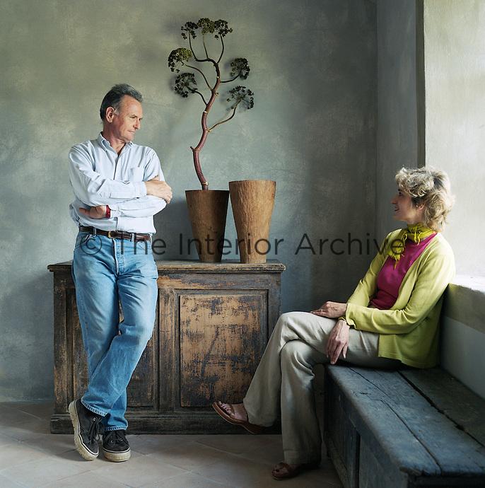 Portrait of interior designer Ilaria Miani with her husband George