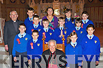 Kilmurry NS, Cordal pupils that was confirmed in St Stephen and John's church Castleisland on Thursday by Bishop Bill Murphy. Front Row: Pa?draig Fitzmaurice, Jack McAuliffe, Bishop, Maisie McCarthy, Maeve Kearney. Centre Row: Kieran O' Donoghue, Paddy Flynn, Katie Flynn, Ciara?n Lane. Back Row: Monsignor Dan O'Riordan, James Cullinane, The?re?se Kearney (Principal) The?re?se Healy, Jason Cronin