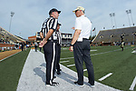 Wake Forest Demon Deacons head coach Dave Clawson (right) chats with head linesman Perry Clark prior to the start of the game against the Towson Tigers at BB&T Field on September 8, 2018 in Winston-Salem, North Carolina. The Demon Deacons defeated the Tigers 51-20. (Brian Westerholt/Sports On Film)