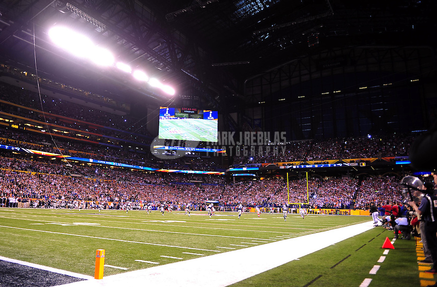 Feb 5, 2012; Indianapolis, IN, USA; A general view during the first half of Super Bowl XLVI between the New England Patriots and the New York Giants at Lucas Oil Stadium.  Mandatory Credit: Mark J. Rebilas-