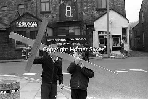 Good Friday Christian Procession suburbs of Liverpool near Burscough Lancashire Easter Good Friday 1974 My ref 8/738/1974