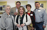 NWA Democrat-Gazette/CARIN SCHOPPMEYER Marjorie Brooks (from left), Joe Brooks, Meagan Steele, Charlotte Steele and Jason Steel, family members of the late Joe M. Steele, gather Jan. 17 at the Arts Center of the Ozarks for the launch of an exhibit honoring the induction of Springdale businessmen, the late John W. Tyson and  Steele into the Arkansas Business Hall of Fame