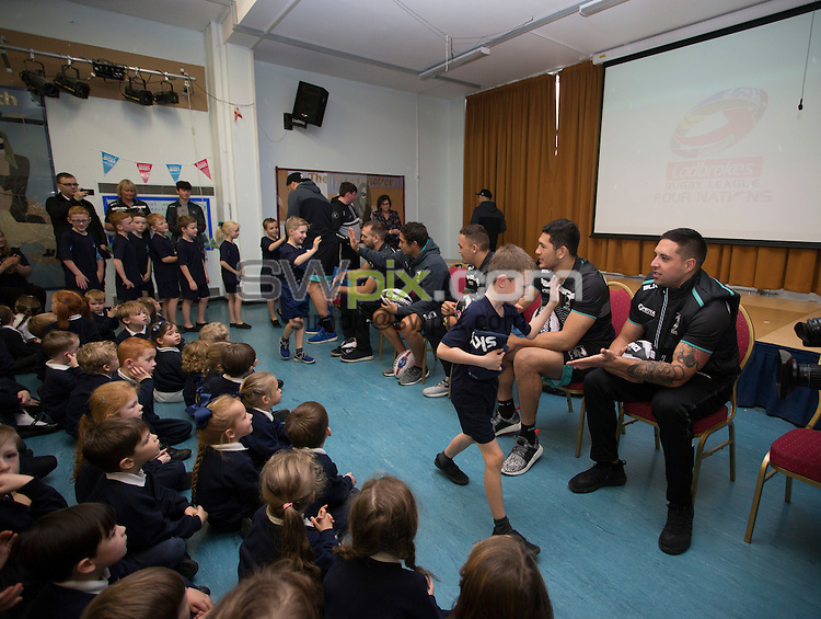 Picture by Paul Currie/SWpix.com - 16/11/2016 - Rugby League - - New Zealand School Visit - Holy Family School , Cronton, England - New Zealand players Gerard Beale, James Fisher-Harris, Te Maire Martin, Jason Nightingale, Jared Ware-Hargreaves and Ballin Watene-Zelezniak visit the Holy Family School in Cronton, ahead of their final at Anfield on Saturday