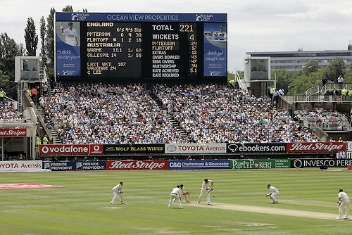 4 August 2005: General view a play showing the packed grandstands and scoreboard during day one of the 2nd npower Ashes Test played between England and Australia at Edgbaston Cricket Ground, Birmingham. Photo: Neil Tingle/Actionplus..050804 cricketer cricket ashes stadium stadia venue ground fan supporter crowd