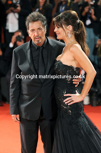 NON EXCLUSIVE PICTURE: PAUL TREADWAY / MATRIXPICTURES.CO.UK<br /> PLEASE CREDIT ALL USES<br /> <br /> WORLD RIGHTS<br /> <br /> American actor Al Pacino and Lucila Sola attend The Humbling premiere during the 71st Venice Film Festival,  Palazzo del Casino, Venice, Italy.<br /> <br /> AUGUST 31st 2014<br /> <br /> REF: PTY 143820
