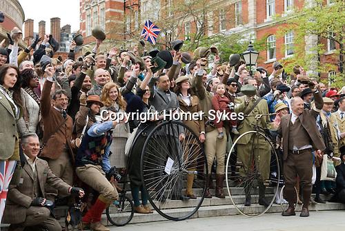 The Tweed Run London UK. Steps of Albert Hall.