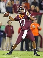 Blacksburg, VA - September 30, 2017: Virginia Tech Hokies quarterback Josh Jackson (17) throws the ball during the game between Clemson and VA Tech at  Lane Stadium in Blacksburg, VA.   (Photo by Elliott Brown/Media Images International)