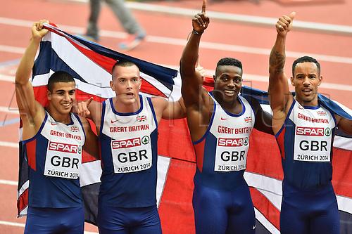 17.08.2014. Zurich, Switzerland. European Athletics Championships 2014 at the Letzigrund stadium in Zurich, Switzerland. Final 4x100m relay, Great Britain winners