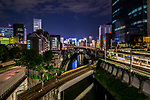 Night city views from the Hijiri Bridge in Ochanomizu, Tokyo, Japan.
