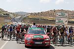 The start of Stage 13 of the 2017 La Vuelta, running 198.4km from Coin to Tomares, Seville, Spain. 1st September 2017.<br />