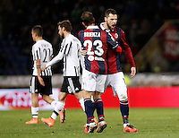 Calcio, Serie A:  Bologna vs Juventus. Bologna, stadio Renato Dall'Ara, 19 febbraio 2016. <br /> Bologna&rsquo;s Franco Brienza and Mattia Destro, right, congratulate each other as Juventus&rsquo; Paulo Dybala, left, and Claudio Marchisio leave the pitch at the end of the Italian Serie A football match between Bologna and Juventus at Bologna's Renato Dall'Ara stadium, 19 February 2016. The game ended 0-0.<br /> UPDATE IMAGES PRESS/Isabella Bonotto